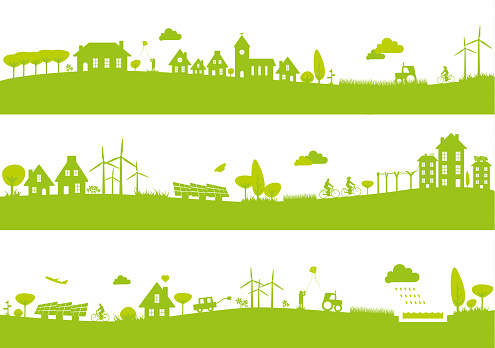Town landscape banners