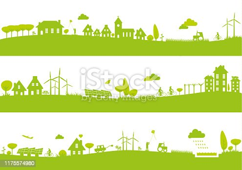istock Town landscape banners 1175574980