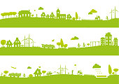 Three banners with urban green landscapes