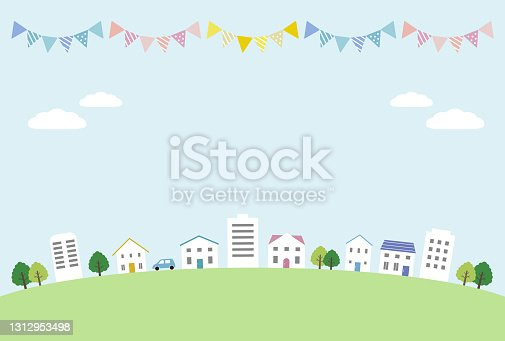 istock Town landscape on sky background 1312953498