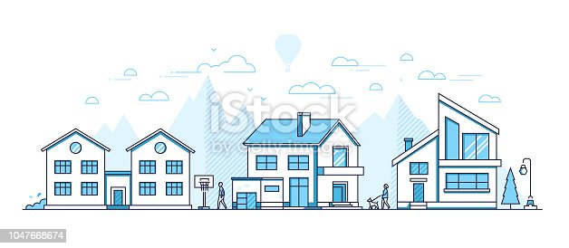Town life - modern thin line design style vector illustration on white background. Blue colored composition, landscape with facades of cottage houses, basketball hoop, trees, people walking, mountains