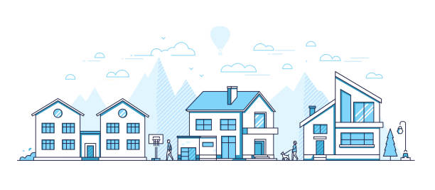 Town life - modern thin line design style vector illustration Town life - modern thin line design style vector illustration on white background. Blue colored composition, landscape with facades of cottage houses, basketball hoop, trees, people walking, mountains residential district stock illustrations