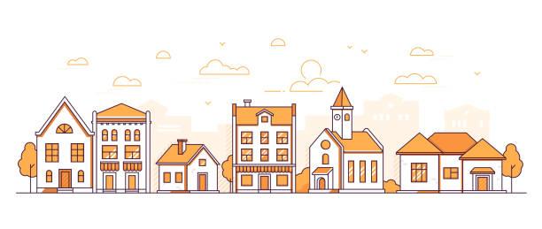 illustrazioni stock, clip art, cartoni animati e icone di tendenza di town life - modern thin line design style vector illustration - city walking background