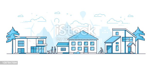 istock Town life - modern thin line design style vector illustration 1097847594