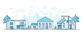 Town life - modern thin line design style vector illustration on white background. Blue colored composition, landscape with facades of cottage houses, people walking, cycling, mountains, windmills
