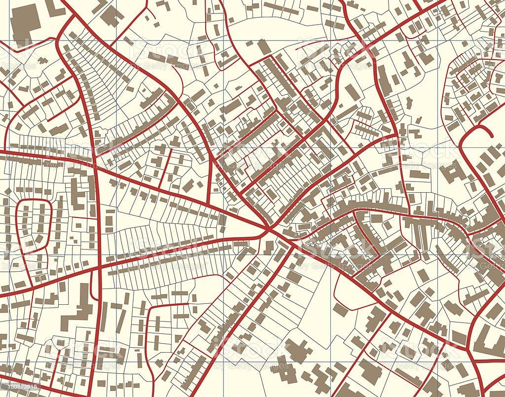 Town map vector art illustration