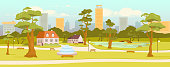 Town park flat color vector illustration. City recreation zone. Village square. Outdoor rest. Skyscrapers on horizon. Streets and houses 2D cartoon landscape with trees on background