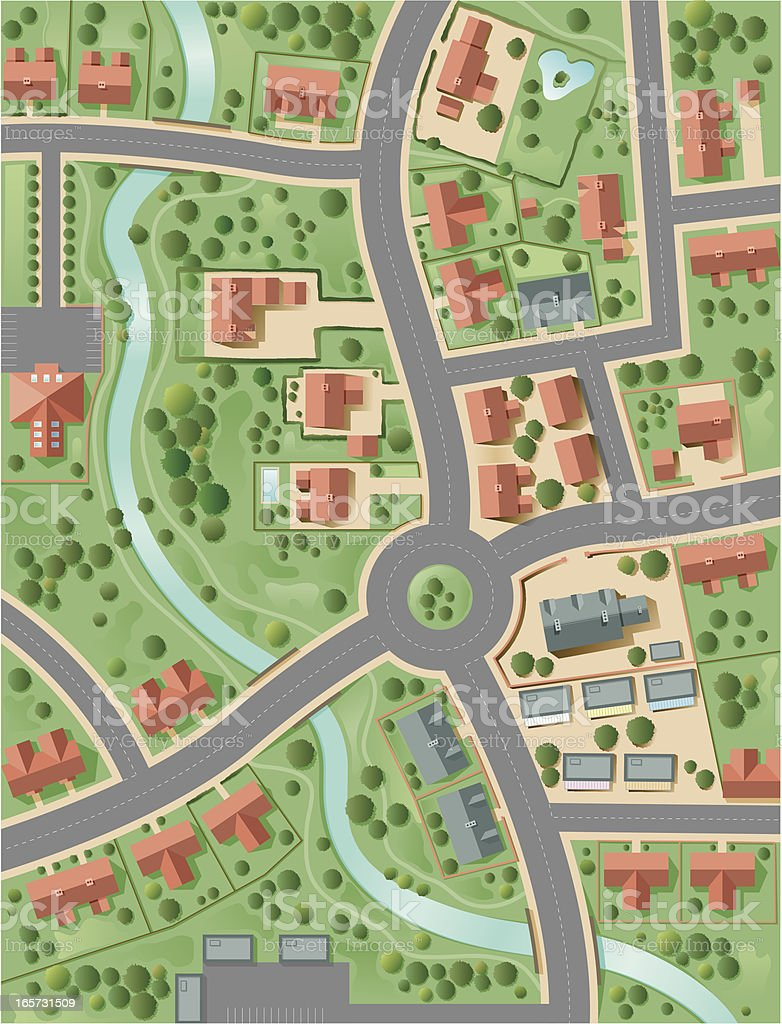 Town plan vector art illustration
