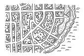 Town Road Map Coast Drawing