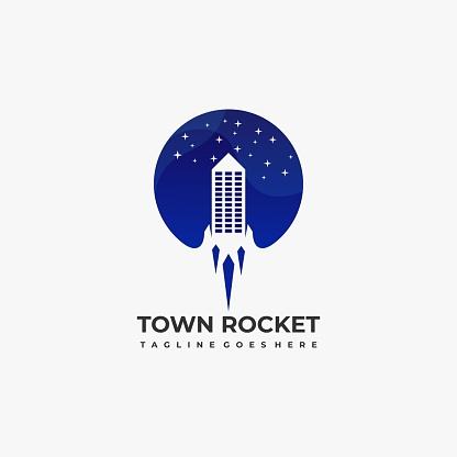 Town Rocket Illustration Vector Template