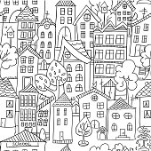 Town seamless pattern. Hand drawn page for coloring book with a lot of houses. Black and white. Doodle stile.