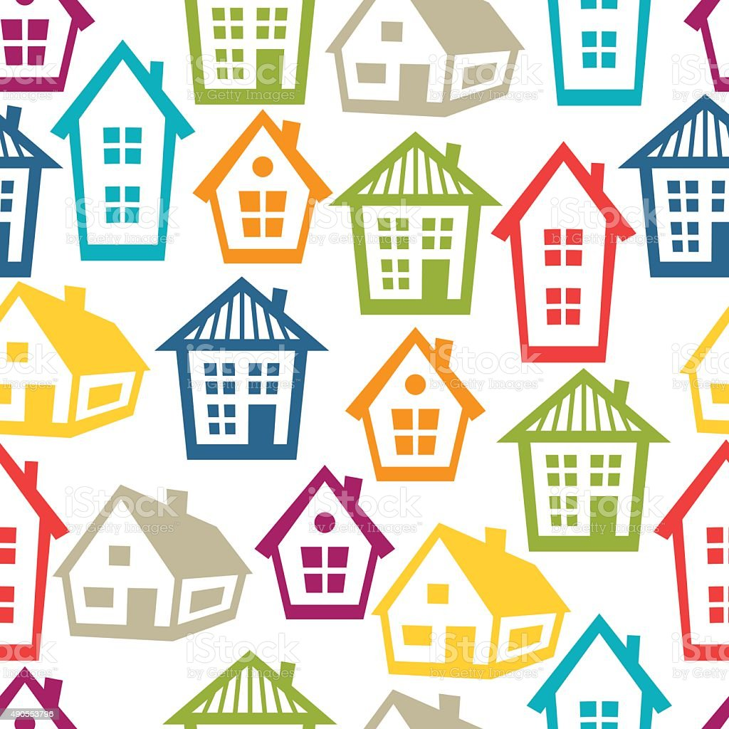 Town seamless pattern with cottages and houses stock for House pattern