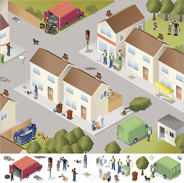 Town Services vector art illustration