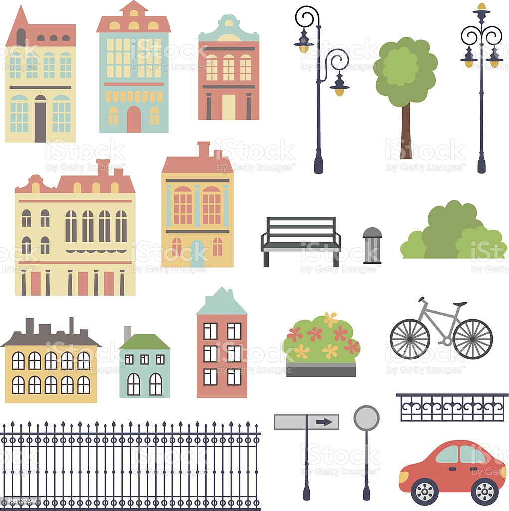 town set vector art illustration