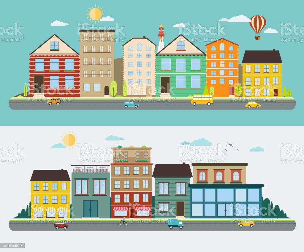 Town streets in a flat design, set of urban streetscapes vector art illustration