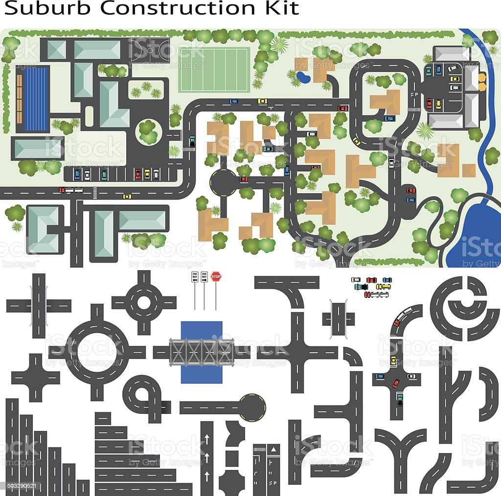 Town Suburb Road Maker Construction Kit vector art illustration
