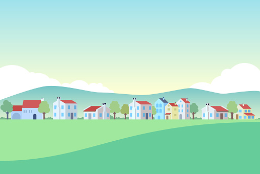 Houses in Town. Retro Flatten Design.
