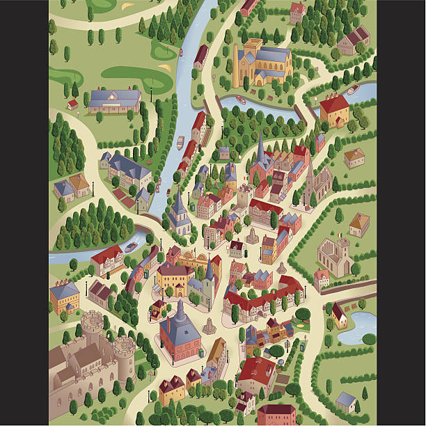 stockillustraties, clipart, cartoons en iconen met town view.map - breedbeeldformaat