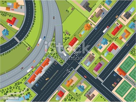 Town - Village Topview. Illustrator vector image.