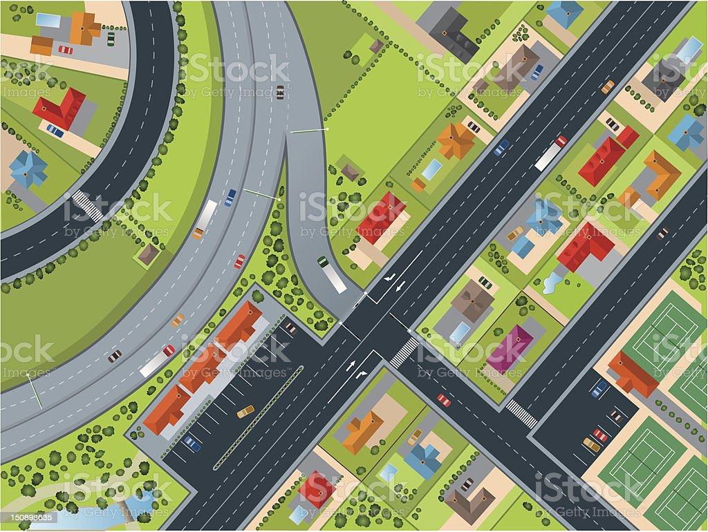 Town - Village Topview vector art illustration