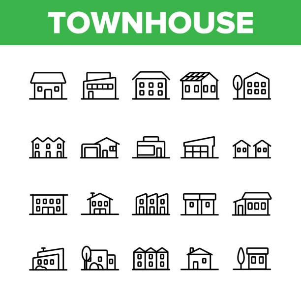 stadthäuser, wohngebäude vector linear icons set - landhaus stock-grafiken, -clipart, -cartoons und -symbole