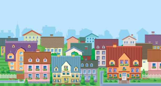 stockillustraties, clipart, cartoons en iconen met townhouses - mens gemaakte ruimtes