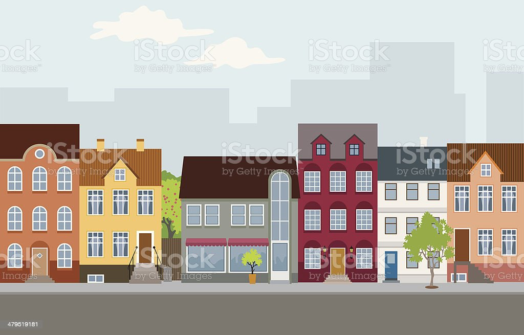 Townhouses vector art illustration