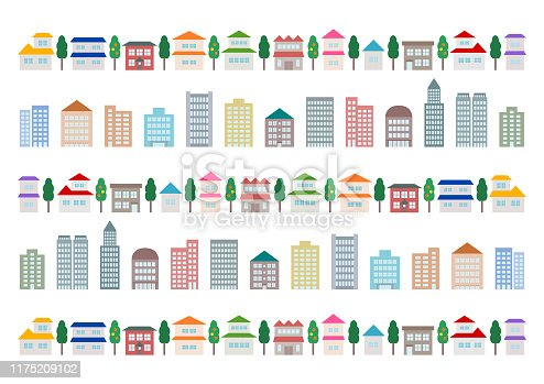 Townscape and building. Vector illustration.