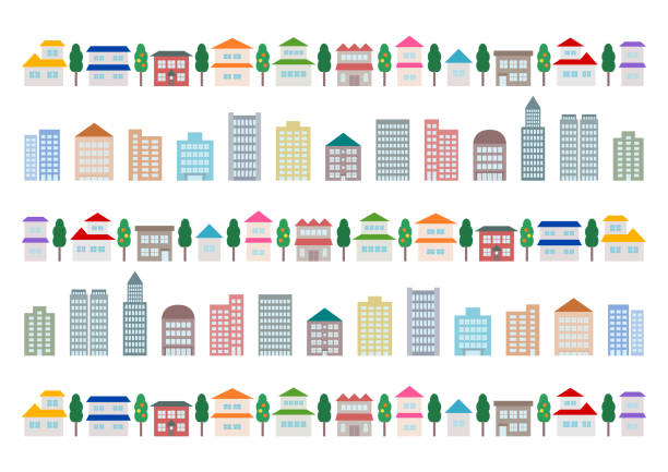 illustrazioni stock, clip art, cartoni animati e icone di tendenza di paesaggio urbano e edificio. illustrazione vettoriale. - appartamento