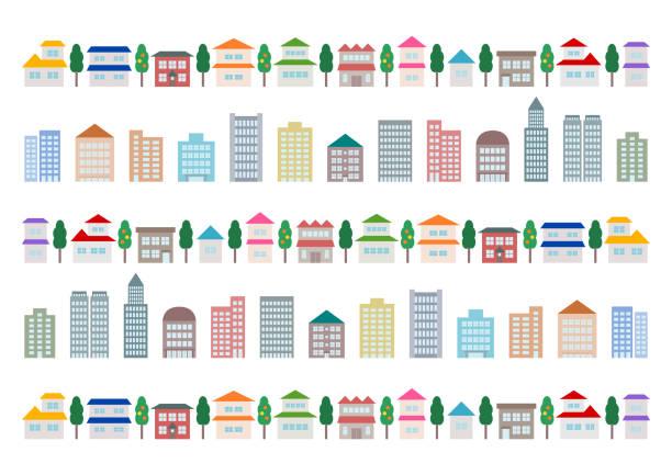 stockillustraties, clipart, cartoons en iconen met stadslandschap en gebouw. vector illustratie. - flat icons