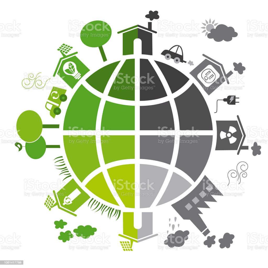 Toxic and clean planet 2 vector art illustration