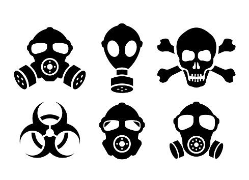 Toxic danger vector signs set