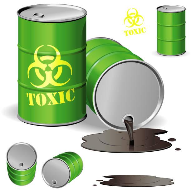 Toxic Drum Drum spilling toxic materials oil drum stock illustrations