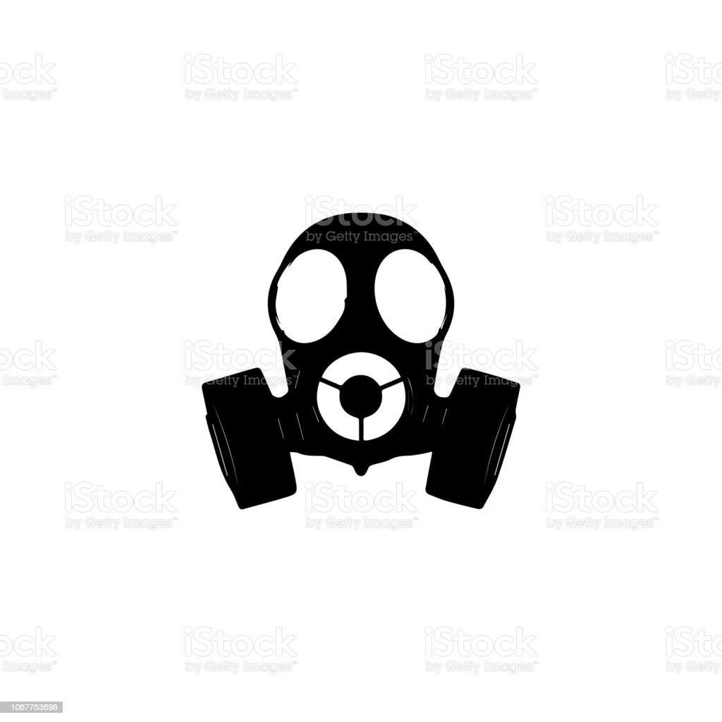 Toxic gas mask icon. Nuclear  radiation science sign vector art illustration