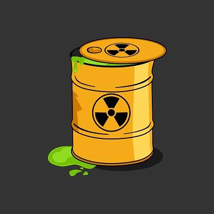 Toxic Radioactive Nuclear Waste Barrel Cartoon
