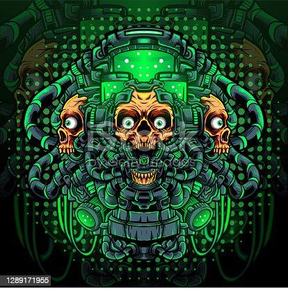 istock Toxic skull mascot. esport logo design 1289171955