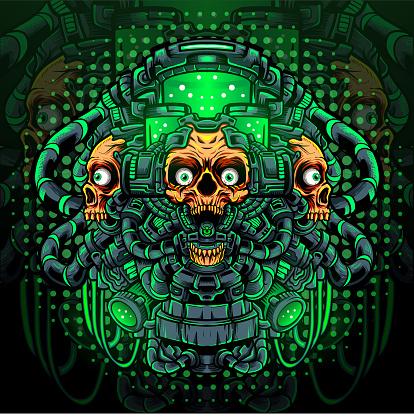 Toxic skull mascot. esport logo design