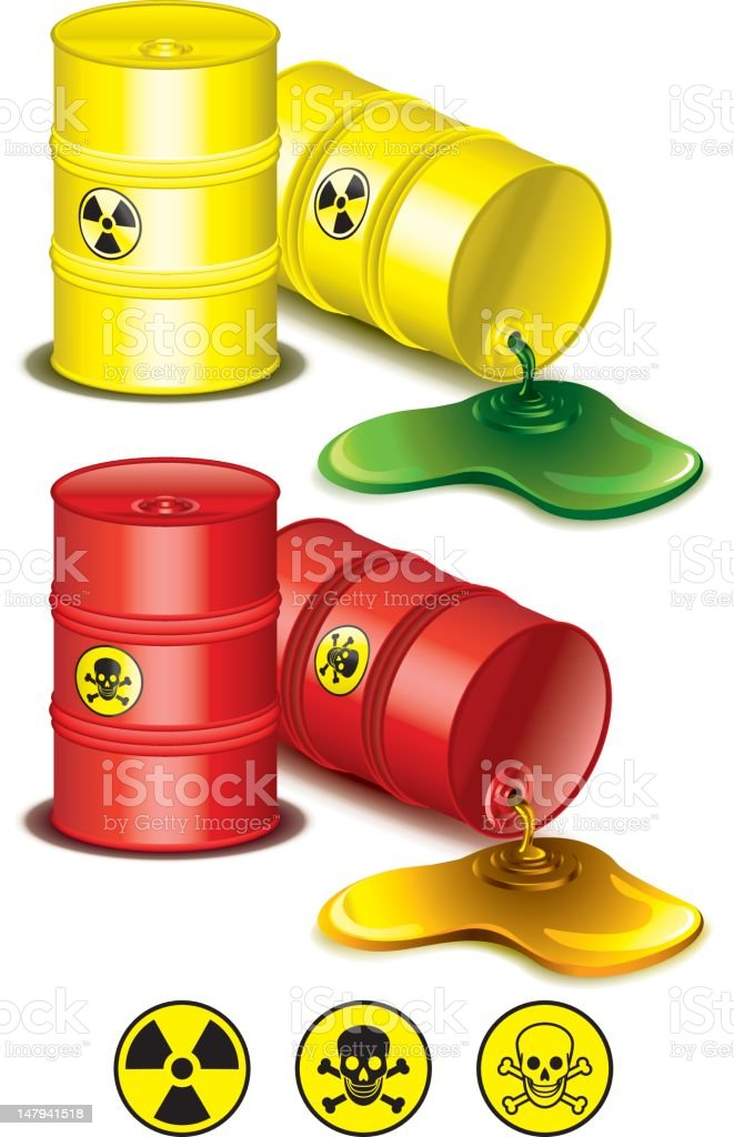 Toxic waste barrels vector art illustration