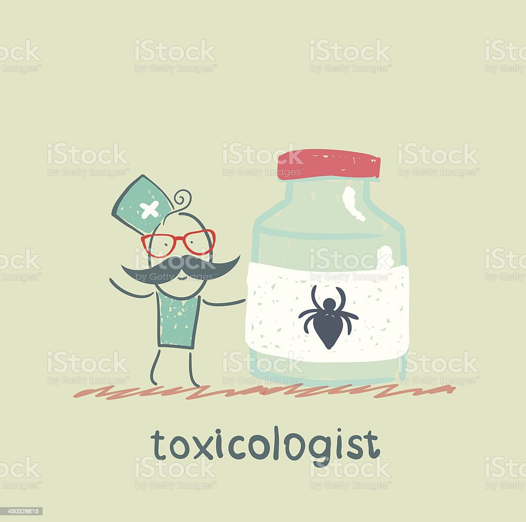 Toxicologist holds a jar of medicine royalty-free stock vector art