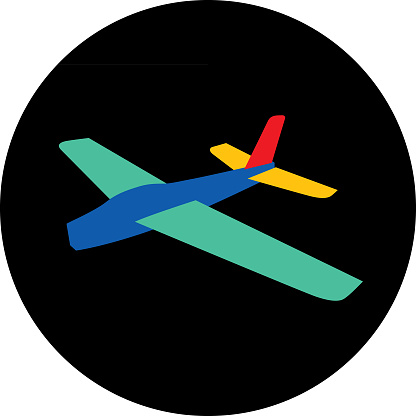 Vector illustration of a toy glider airplane icon.
