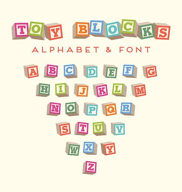 おもちゃの赤ちゃんは明るい色でフォントのアルファベットをブロック - 赤ちゃん点のイラスト素材/クリップアート素材/マンガ素材/アイコン素材