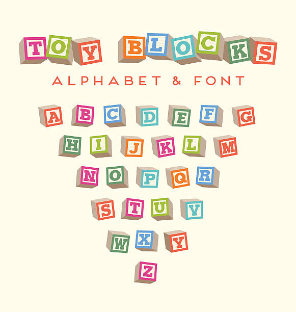 toy baby blocks font alphabet in bright colors - lego stock illustrations