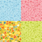 Seamless toy background in four different colors. Each is on separate layer. Black variant also included in zip.