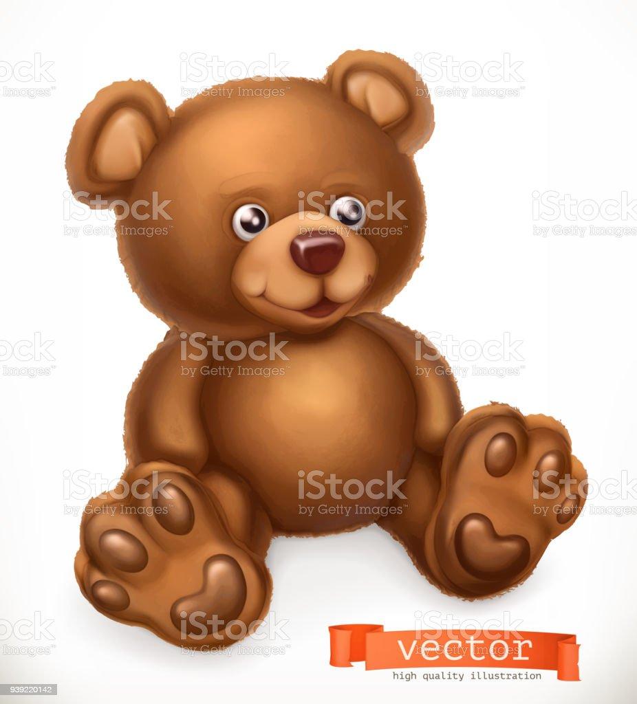 Urso de brinquedo, ícone do vetor 3d - ilustração de arte em vetor