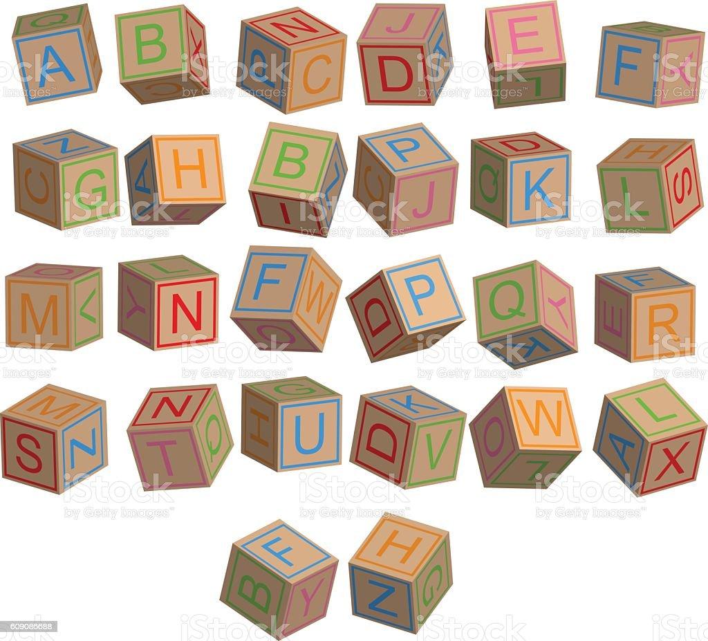 Toy blocks alphabet in 3D disordered - ilustración de arte vectorial