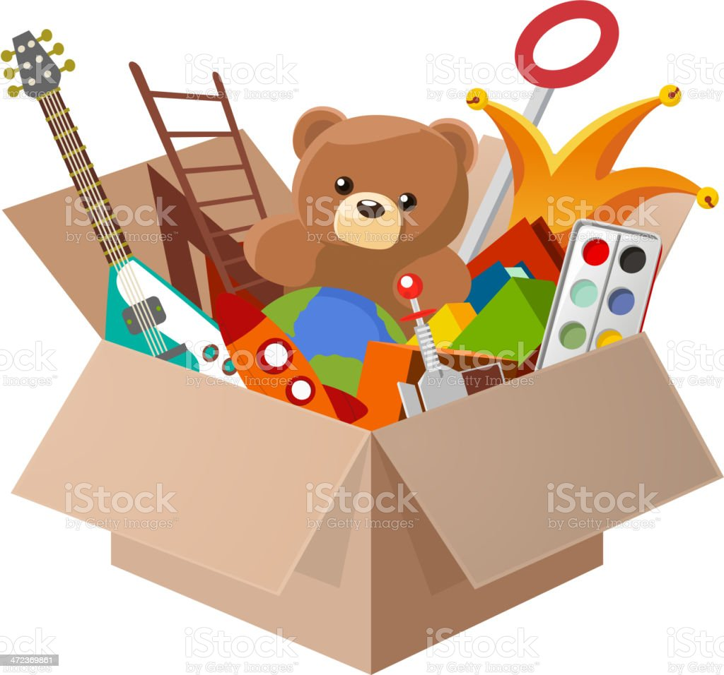 toy box teddy bear guitar ball watercolor stock vector art more rh istockphoto com toy box clipart black and white Toy Shelf