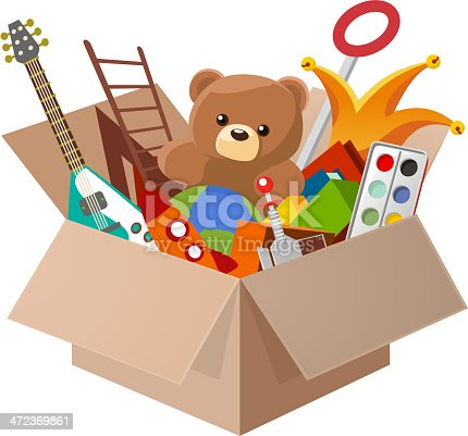 istock Toy Box Teddy Bear Guitar Ball Watercolor 472369861