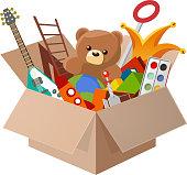 Toy Box, with Teddy Bear, Guitar, Ball, Watercolor, clown, robot. Vector illustration cartoon.