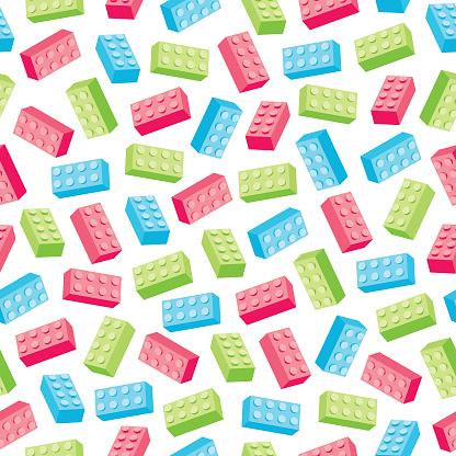 Toy bricks seamless pattern