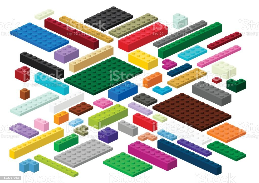Toy building blocks and plates vector art illustration